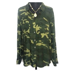 Rock & Republic Camouflage Shirt Roll-up Sleeves L